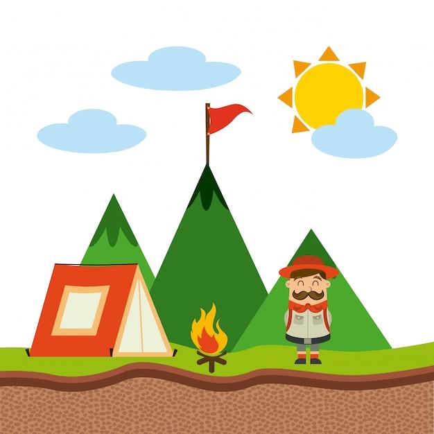 Concetto di campeggio