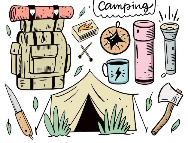 Insieme di elementi di design campeggio.