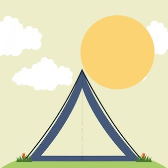 Progettazione di campeggio sopra l'illustrazione di vettore del fondo del cielo