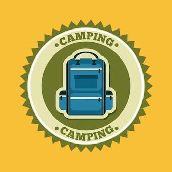 Progettazione di campeggio sopra l'illustrazione gialla di vettore del fondo