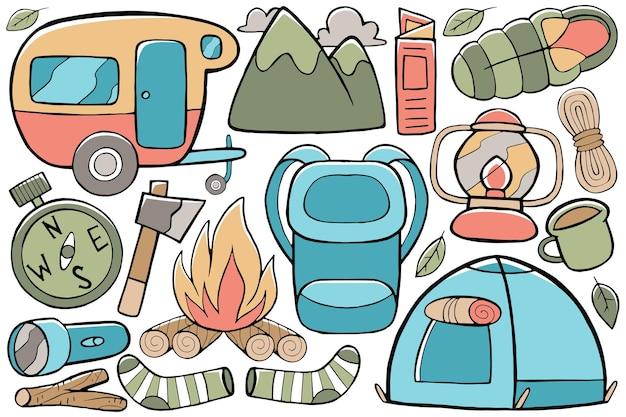 Doodle da campeggio in stile di design disegnato a mano