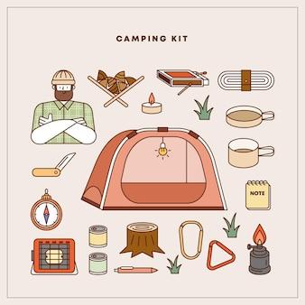 Insieme dell'illustrazione di vettore dell'elemento di campeggio