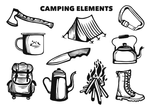 Collezione di elementi da campeggio e set di strumenti da trekking
