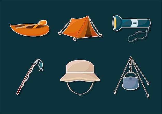 Set di elementi di campeggio