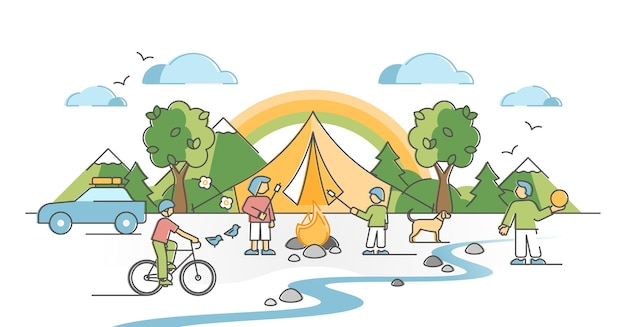 Famiglia in campeggio con bambini all'aperto con camino e concetto di struttura di riparo