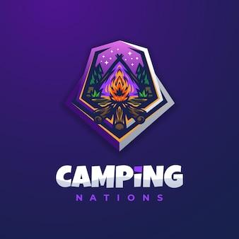 Modello di progettazione di logo viola fuoco di campeggio
