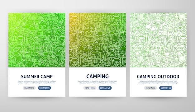 Concetti di volantino da campeggio. illustrazione vettoriale di outline web banner design.