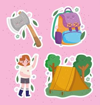 Campeggio, tenda ragazza ascia e zaino in stile cartone animato