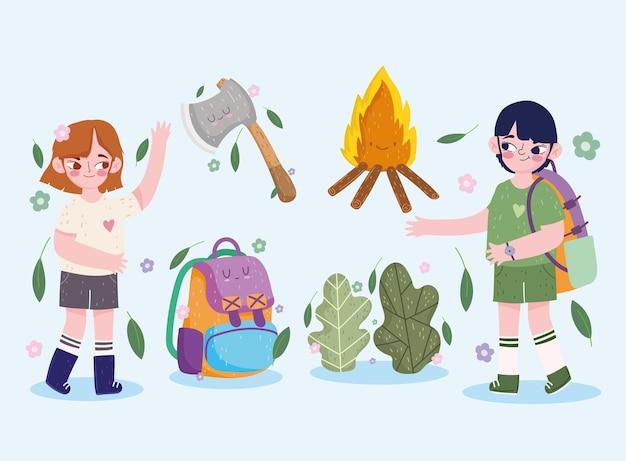 Campeggio, ragazza ragazzo zaino ascia foresta falò in stile cartone animato