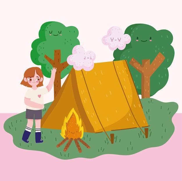 Campeggio, campeggio ragazza con foresta tenda falò in stile cartone animato