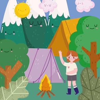 Campeggio ragazza tenda foresta montagne e falò in stile cartone animato