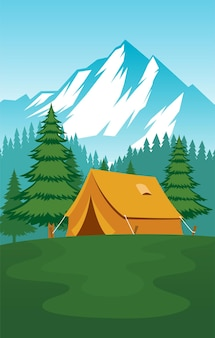 Camping ground design piatto vettoriale