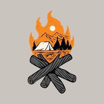 Campeggio escursione avventura e fuoco da campo illustrazione grafica t-shirt design