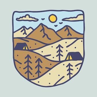 Avventura di escursione in campeggio con design di t-shirt con illustrazione grafica di bellezza natura