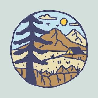 Avventura di escursione in campeggio con design di t-shirt con illustrazione grafica di colline