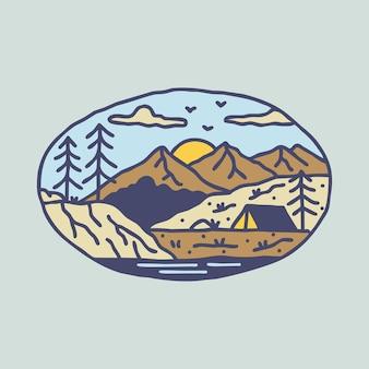 Avventura di escursione in campeggio con design di t-shirt con illustrazione grafica di montagne
