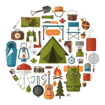 Elementi di campeggio ed escursionismo. insieme dell'icona di escursione nella foresta.