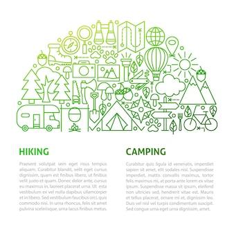 Modello di linea di escursionismo in campeggio. illustrazione di vettore del disegno del profilo.