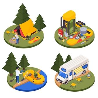 Insieme isometrico turistico di campeggio escursionistico di quattro piattaforme rotonde con illustrazione all'aperto