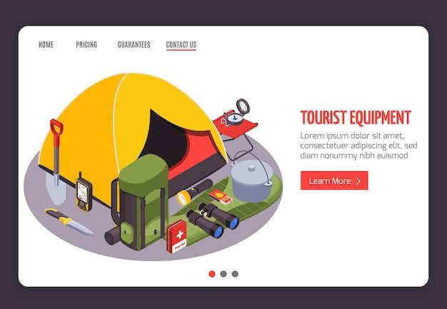 Banner di sito web isometrico turistico per escursionismo da campeggio con link a immagini di abbigliamento da trekking e pulsante per saperne di più