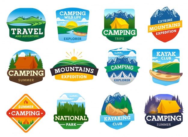 Icone di campeggio, escursioni e viaggi