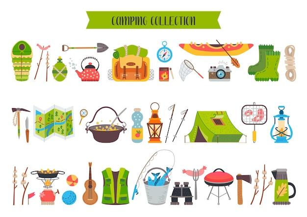 Set di attrezzature per icone da campeggio