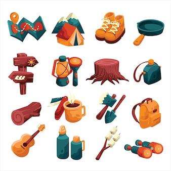 Elemento dell'icona di campeggio impostato con stile colorato e cartone animato