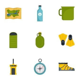 Set di icone di campeggio. set piatto di 9 icone vettoriali di campeggio