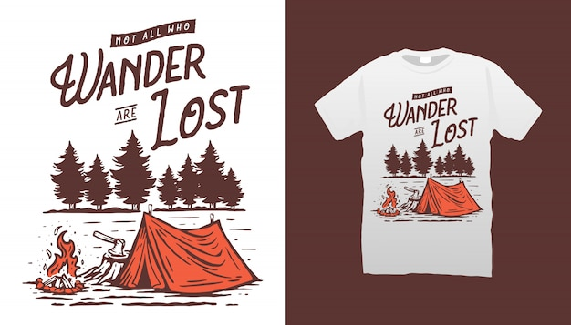 Camping design illustrazione tshirt