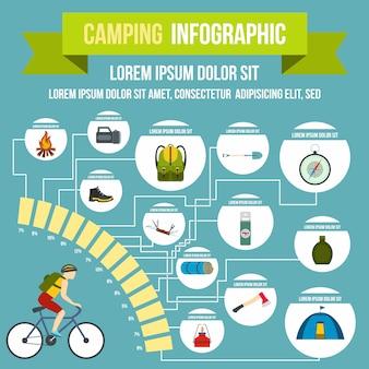 Infografica campeggio in stile piatto per qualsiasi design