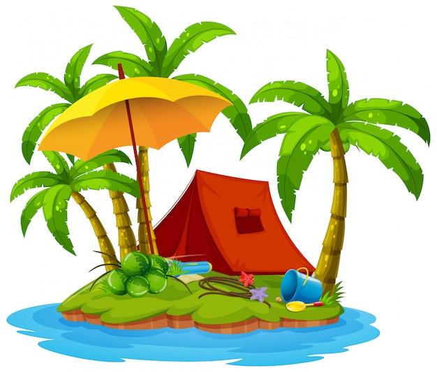 Campeggio sull'isola