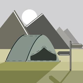 Paesaggio e tende da campeggio