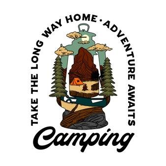 Illustrazione grafica della lanterna di campeggio