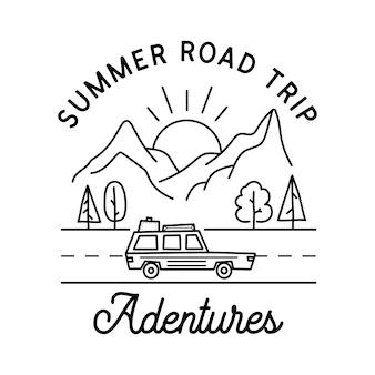 Design del logo da campeggio. design distintivo lineare avventura vintage. etichetta con stemma all'aperto con montagne e auto. emblema della siluetta di viaggio isolato. magazzino isolato. Vettore Premium