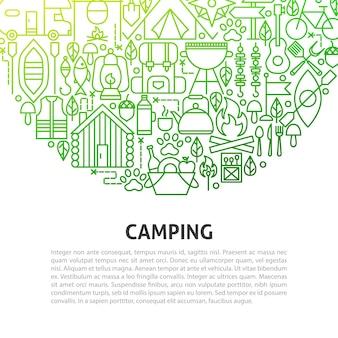 Concetto di linea di campeggio. illustrazione vettoriale del modello di struttura.