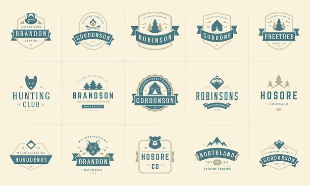 Set di sagome e elementi di design di modelli di badge e loghi da campeggio