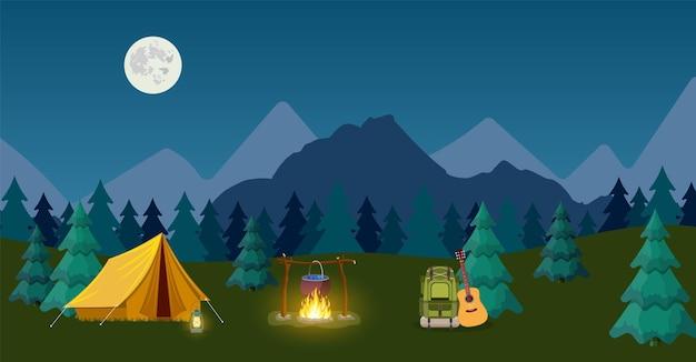 Campeggio e campo in montagna. per banner web o materiale promozionale.