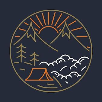 Illustrazione grafica di avventura natura campeggio camping