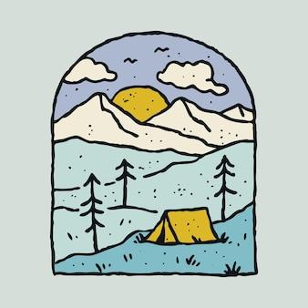 Campeggio natura avventura linea selvaggia arte
