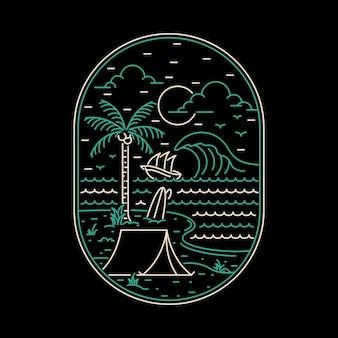 Campeggio natura avventura selvaggia linea distintivo patch pin grafica illustrazione arte t-shirt design