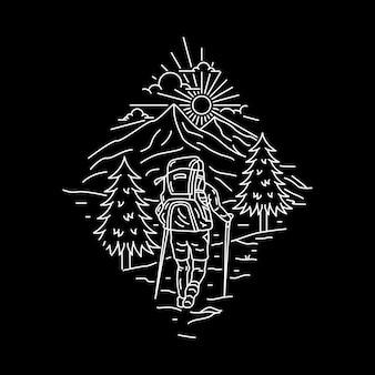 Campeggio natura avventura wild line badge patch pin illustrazione grafica