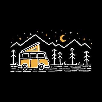 Distintivo di linea selvaggia di campeggio natura avventura
