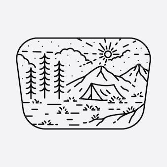 Campeggio natura avventura linea selvaggia illustrazione grafica arte t-shirt design