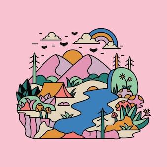 Campeggio natura avventura selvaggia montagna fiume colorato grafica illustrazione arte t-shirt design