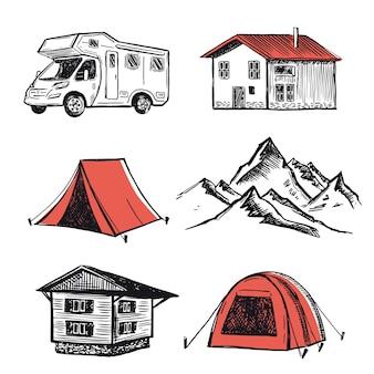 Campeggio in camper nella natura stile disegnato a mano del paesaggio di montagna