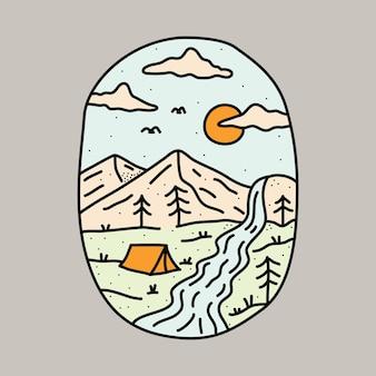 Natura di campeggio con l'illustrazione grafica della montagna e del fiume di bellezza