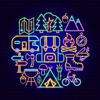 Concetto di campeggio al neon. illustrazione vettoriale di promozione all'aperto.