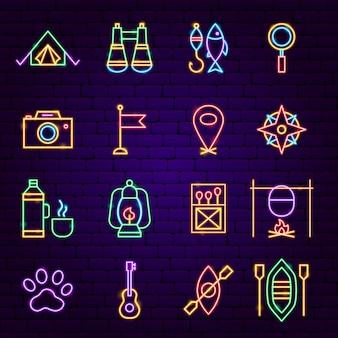 Icone al neon di campeggio. illustrazione vettoriale di promozione all'aperto.