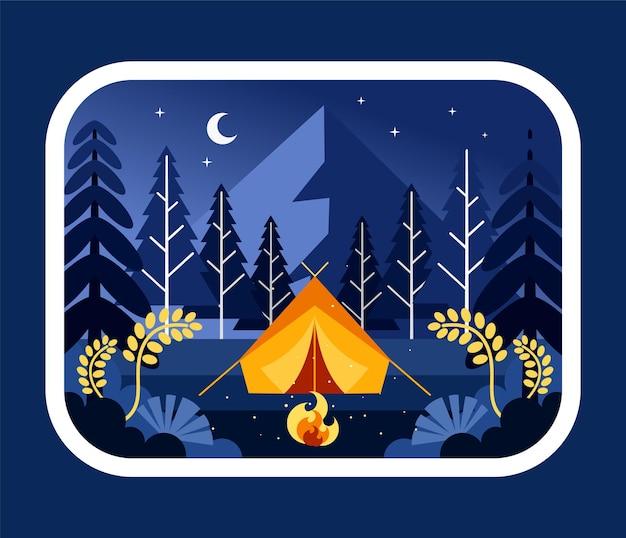 Campeggio di notte nell'illustrazione della foresta
