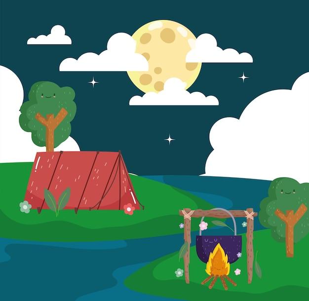 Tenda da campeggio notturna